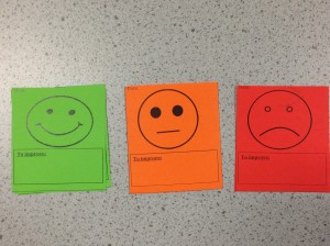 RAG cards used by students to reflect on their learning. Also a great way to show progress over time.