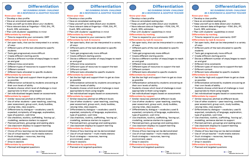 Differentiation bookmarks by Chris Moyse.
